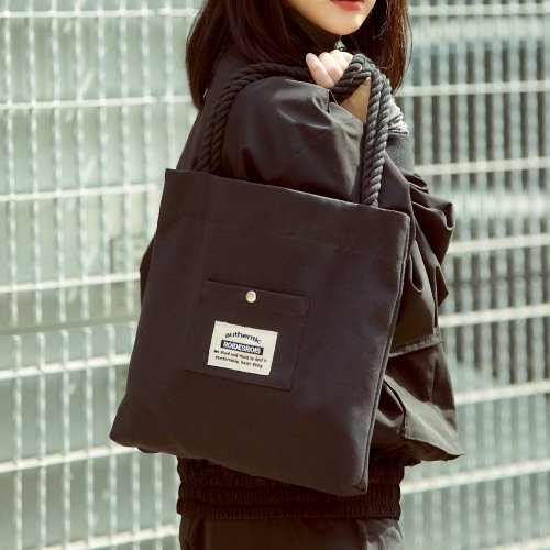 ROPE COTTON ECO BAG (BLACK)